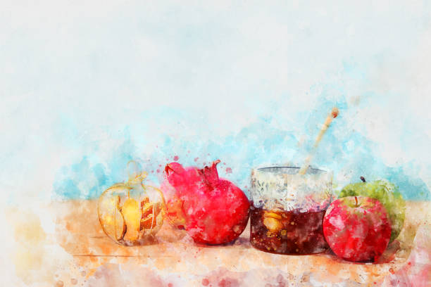 watercolor style and abstract image of Rosh hashanah (jewish New Year holiday) concept. Traditional symbols – zdjęcie