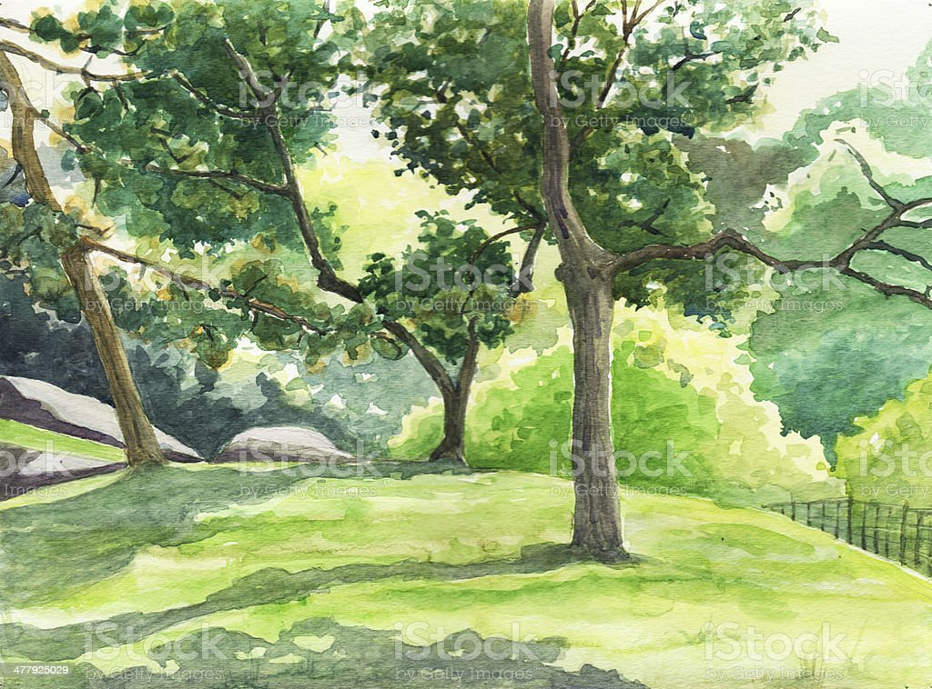 Watercolor summer landscape painting. royalty-free stock photo