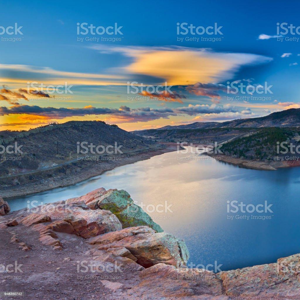 Watercolor sunrise stock photo
