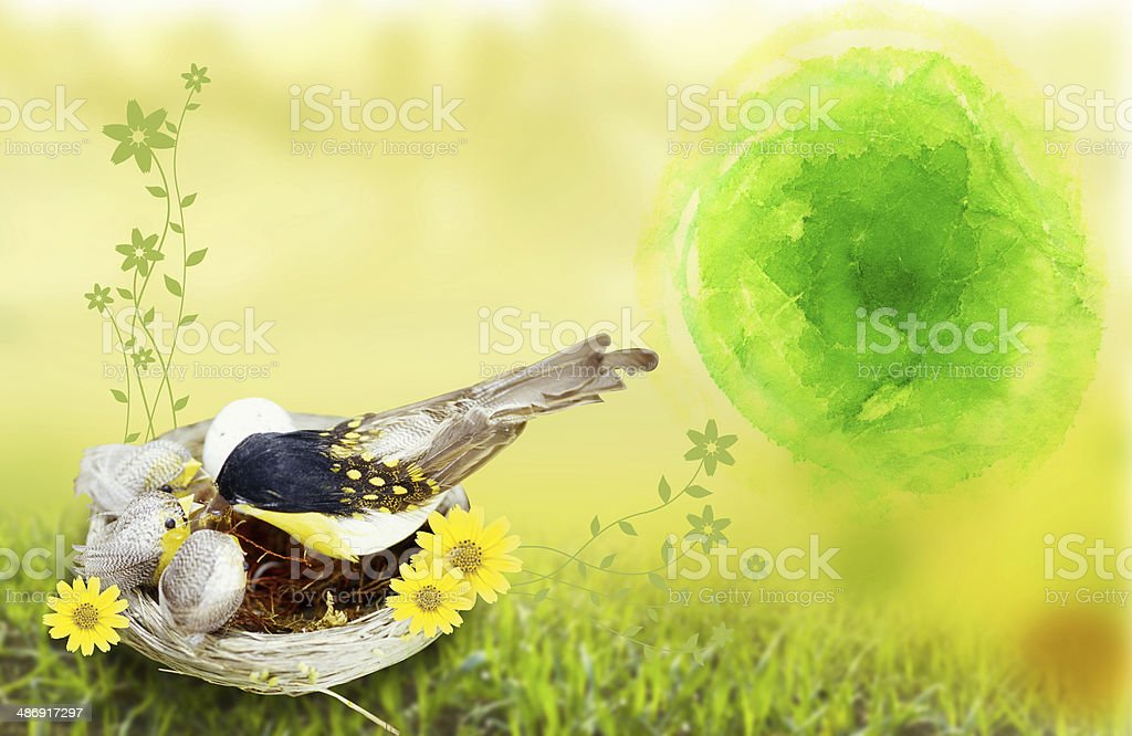 watercolor Tree and Bird royalty-free stock photo