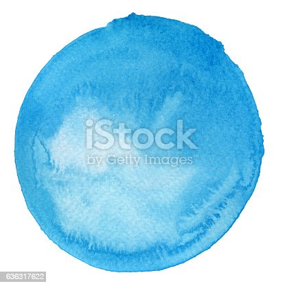 istock Watercolor Turquoise Circle (Clipping Path) 636317622