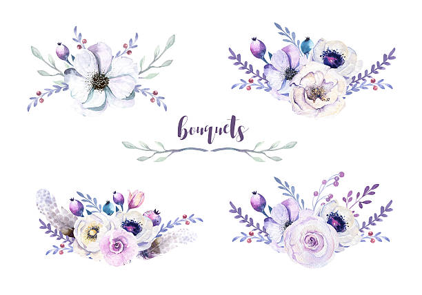 Watercolor vintage boho floral bouquets,feather. Bohemian spring flower stock photo