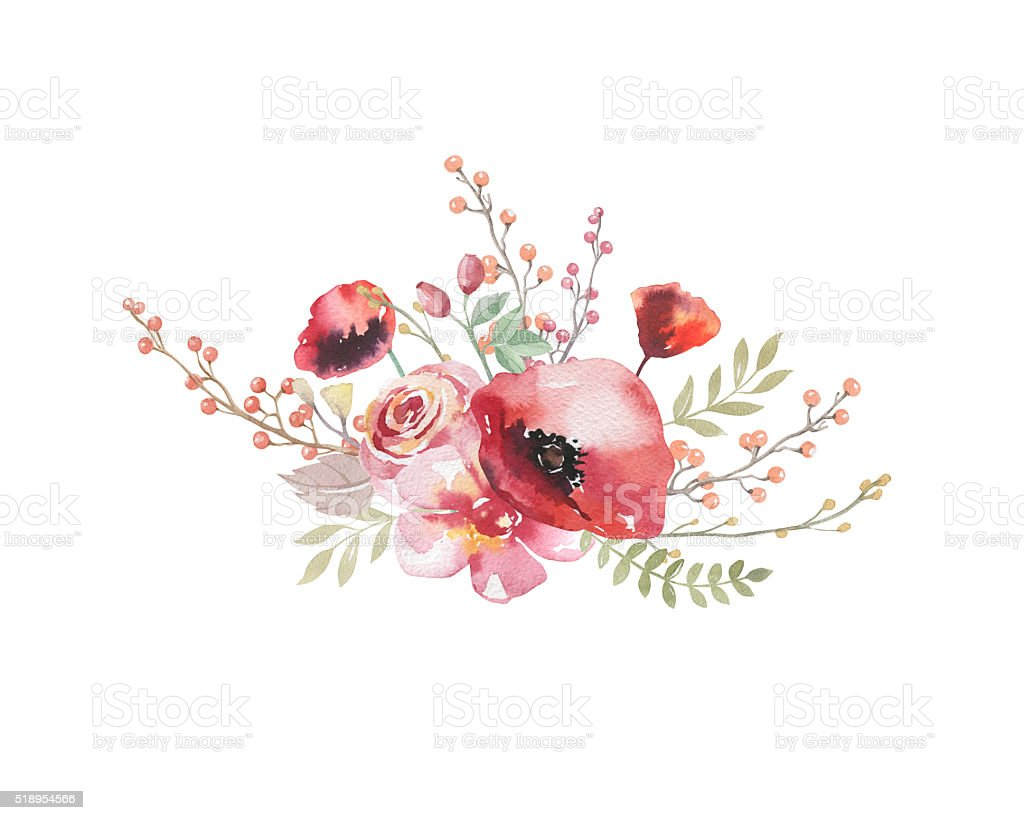 Watercolor vintage floral bouquet. Boho spring flowers and leaf stock photo
