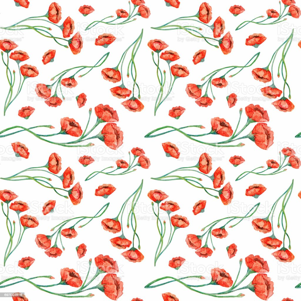 Watercolor vintage red poppies seamless pattern stock photo