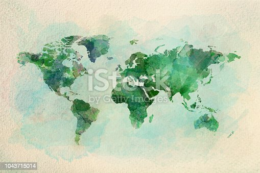 istock Watercolor vintage world map in green colors 1043715014
