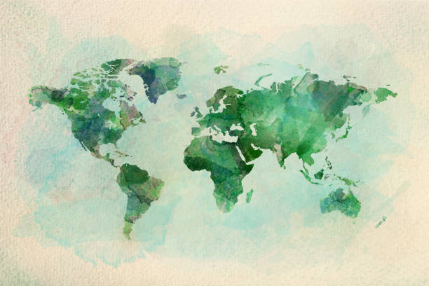 watercolor vintage world map in green colors - west direction stock pictures, royalty-free photos & images
