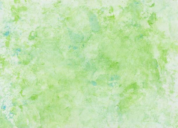 Watercolor wash with foil print, background in green and blue stock photo