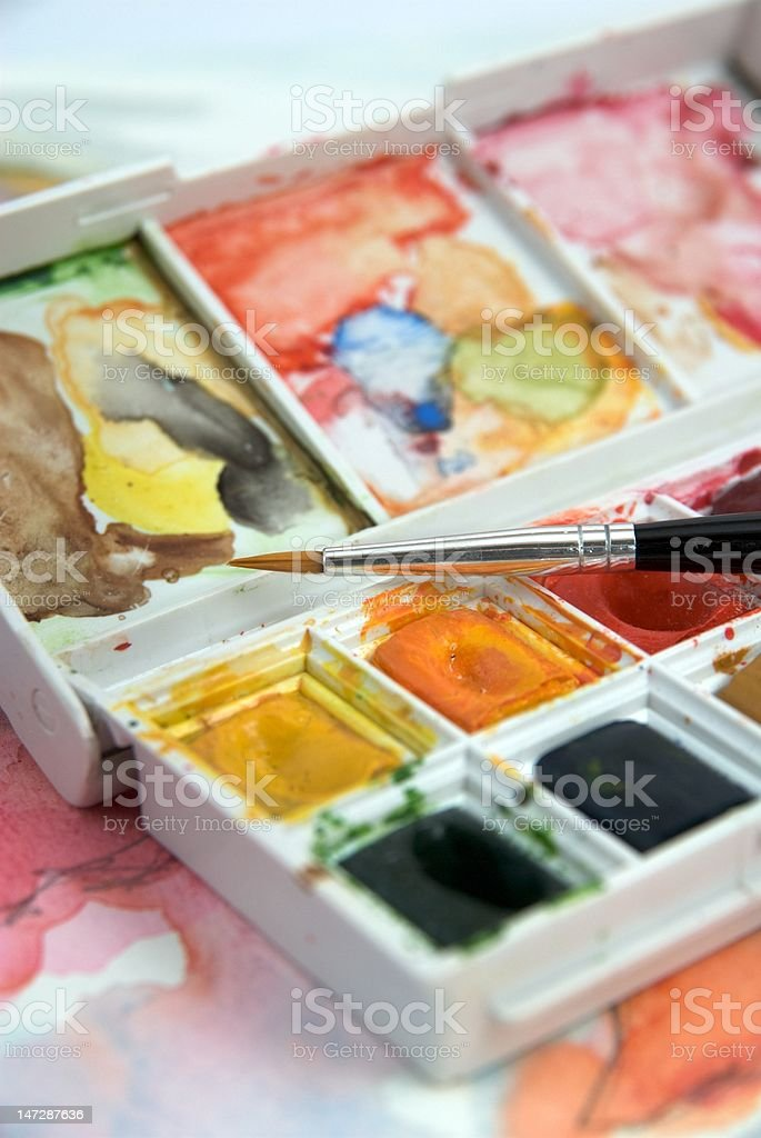 Watercolor with brush royalty-free stock photo