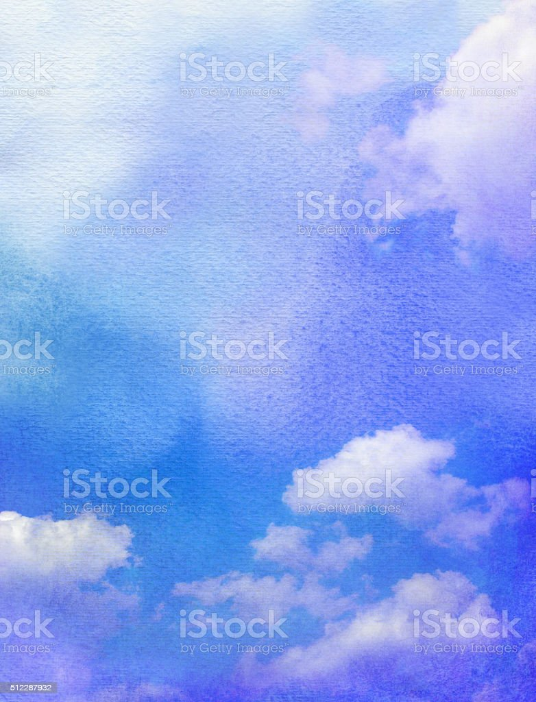 watercolor with clouds texture stock photo