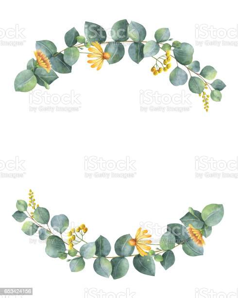 Watercolor wreath with silver dollar eucalyptus leaves and branches picture id653424156?b=1&k=6&m=653424156&s=612x612&h=tlilnsnmfk 2rp7222bhwgihigovxtxrleg3pf2nkpm=