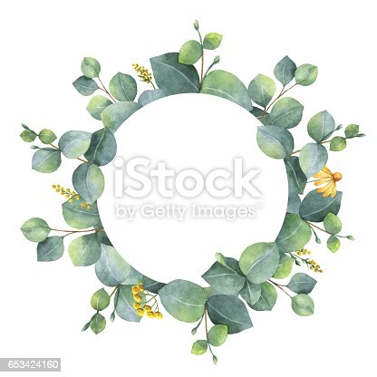 Watercolor Wreath With Silver Dollar Eucalyptus Leaves And Branches Stock Photo Amp More Pictures