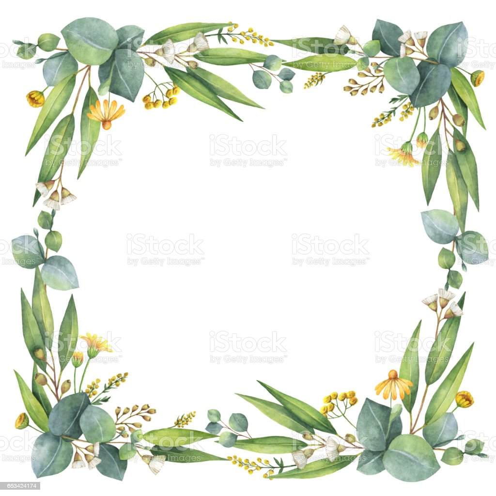 Watercolor Wreath With Silver Dollar Eucalyptus Leaves And Branches Stock Photo Download Image