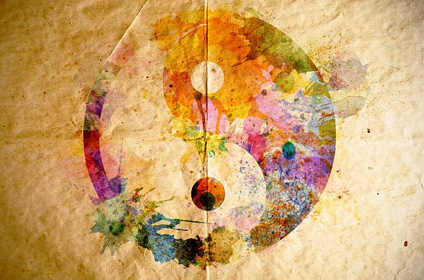 watercolor yin yang symbol, old paper background - yin yang symbol stock pictures, royalty-free photos & images