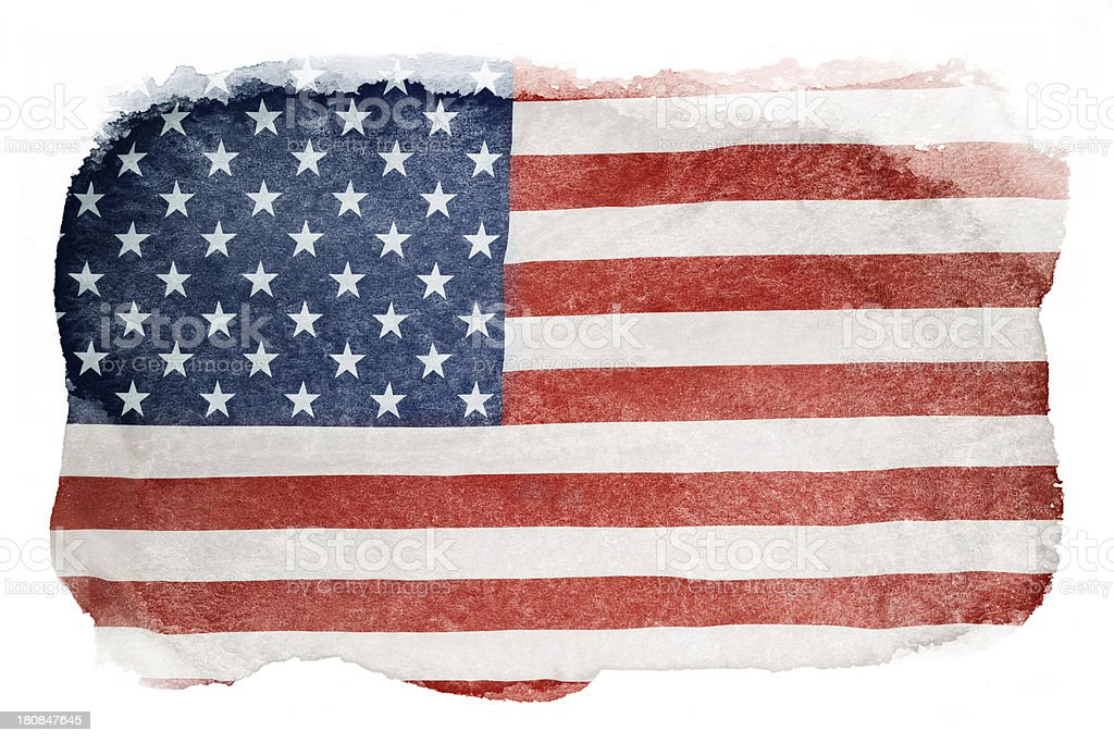 Watercolored American Flag royalty-free stock photo