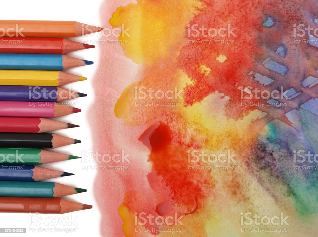 Watercolors and pencil stock photo