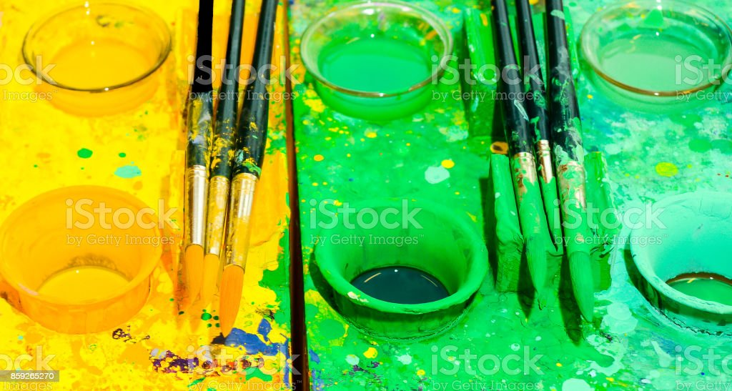 Watercolors in the colors of the German political parties that will form a so-called 'Jamaica  Coalition' stock photo
