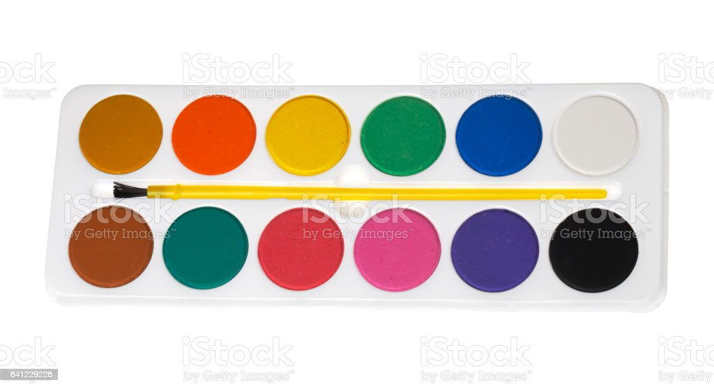 Watercolors palette on white stock photo