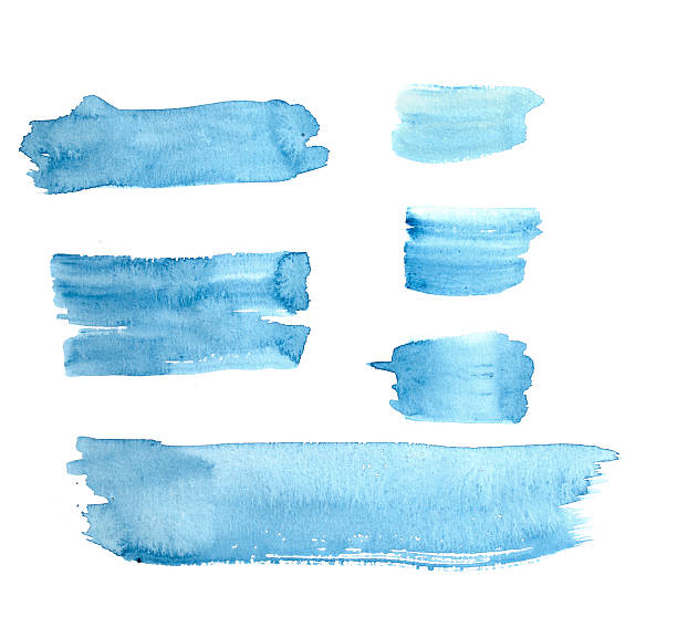 Watercolour Blue Painted Buttons / Lines stock photo