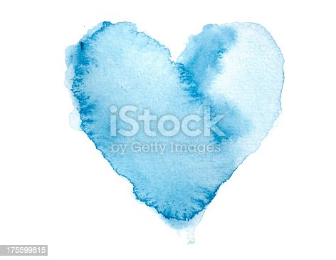 istock Watercolour Blue Painted Textured Heart 175599815