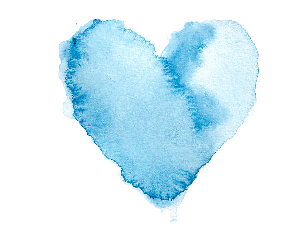Watercolour Blue Painted Textured Heart stock photo