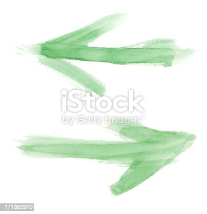 804299508 istock photo watercolour green painted arrows 171352910