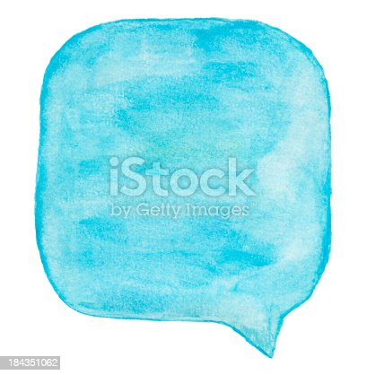 istock Watercolour Light Blue Speech Bubble 184351062