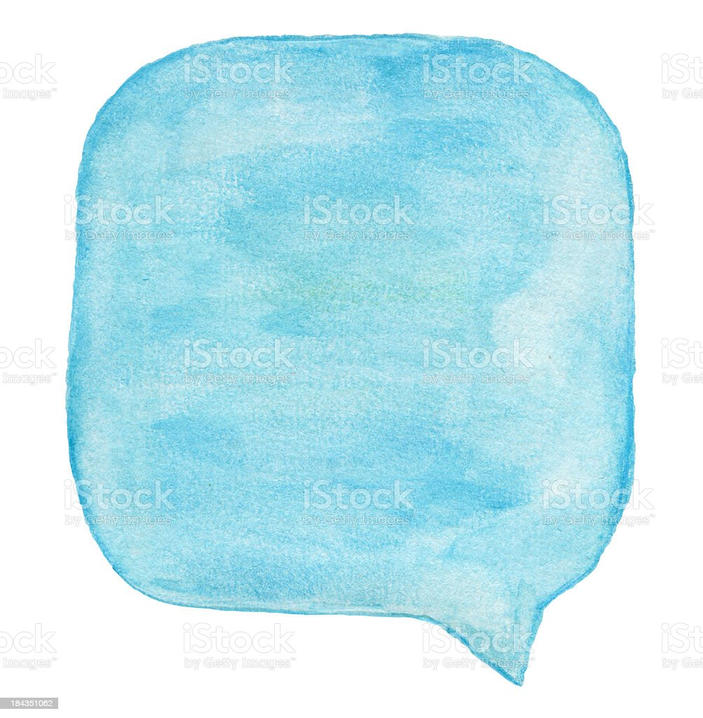 Watercolour Light Blue Speech Bubble stock photo