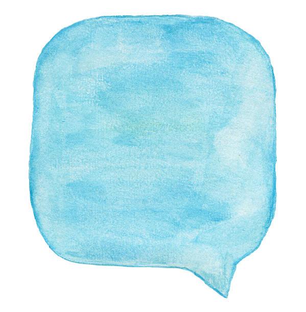 Watercolour ライトブルーの吹き出し ストックフォト
