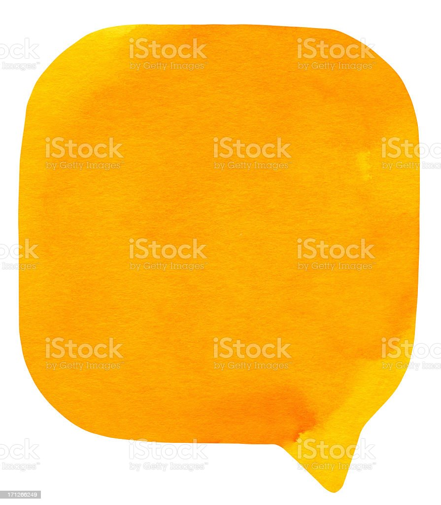 Watercolour Light Orange Speech Bubble stock photo