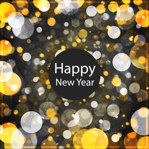 Watercolour new year background with silver and golden circles stock photo