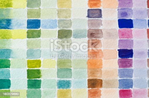 A filled grid of watercolour paint shades comparing full strength of colour to it's diluted equivalent in adjacent columns.