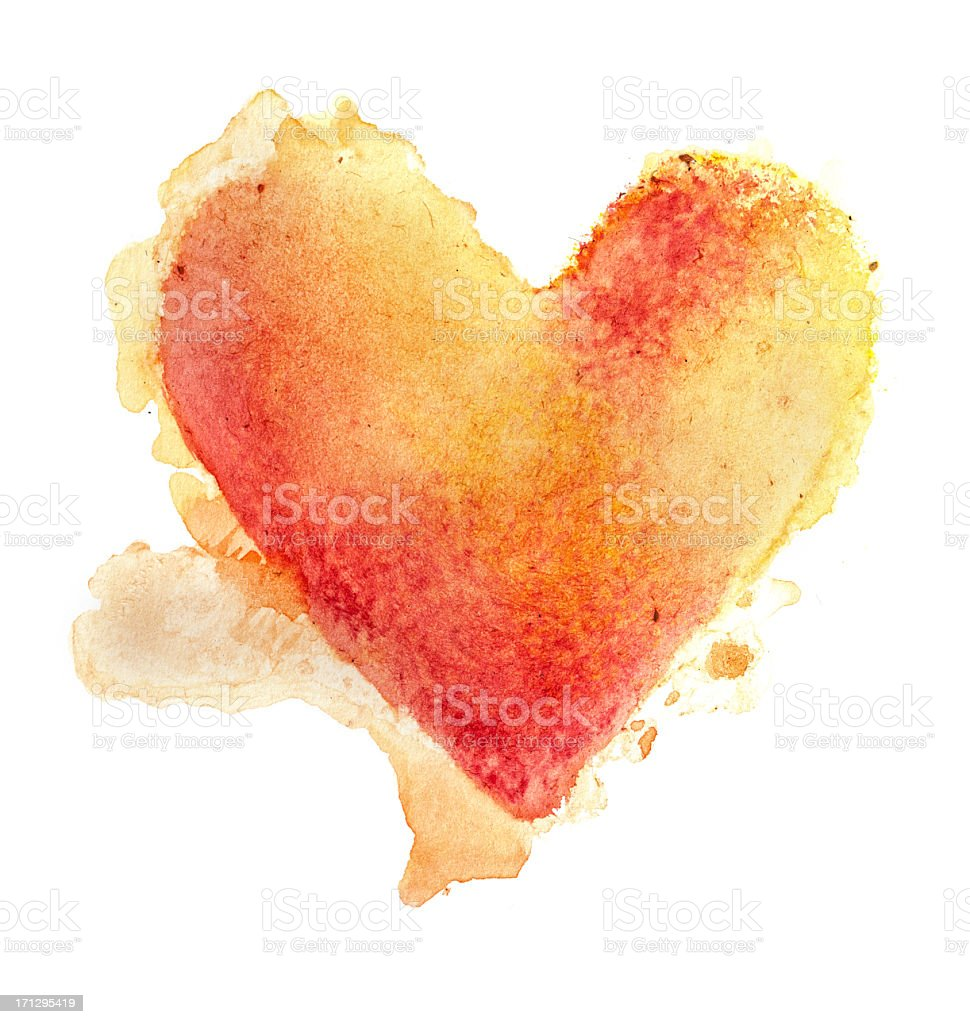 Watercolour Painted Textured Heart stock photo