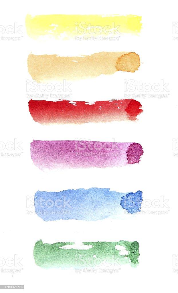Watercolour strokes over white royalty-free stock photo