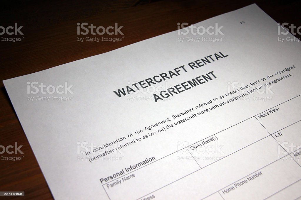 Watercraft Rental Agreement Document Stock Photo Download