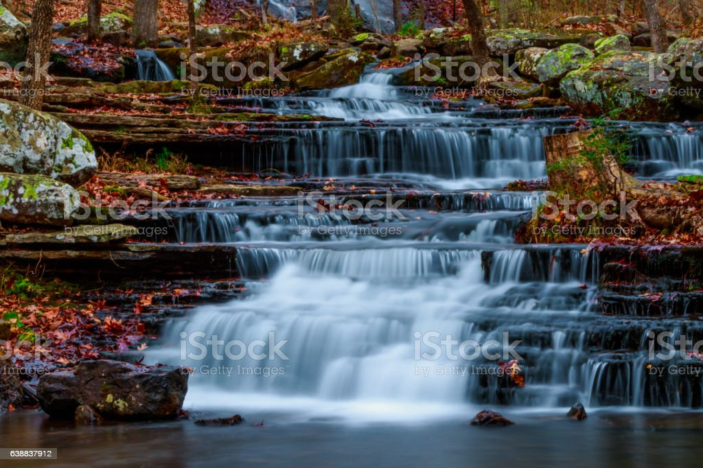 Waterfall along Collins Creek in Herber Springs Arkansas stock photo