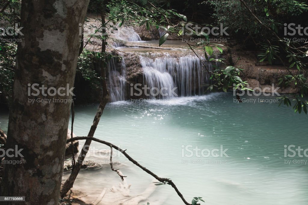 Waterfall Along Erawan Falls Hiking Trail stock photo