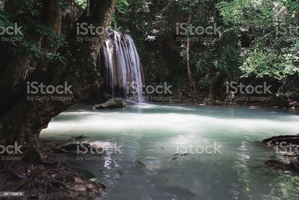 Waterfall (Level Three) Along Erawan Falls Hiking Trail stock photo