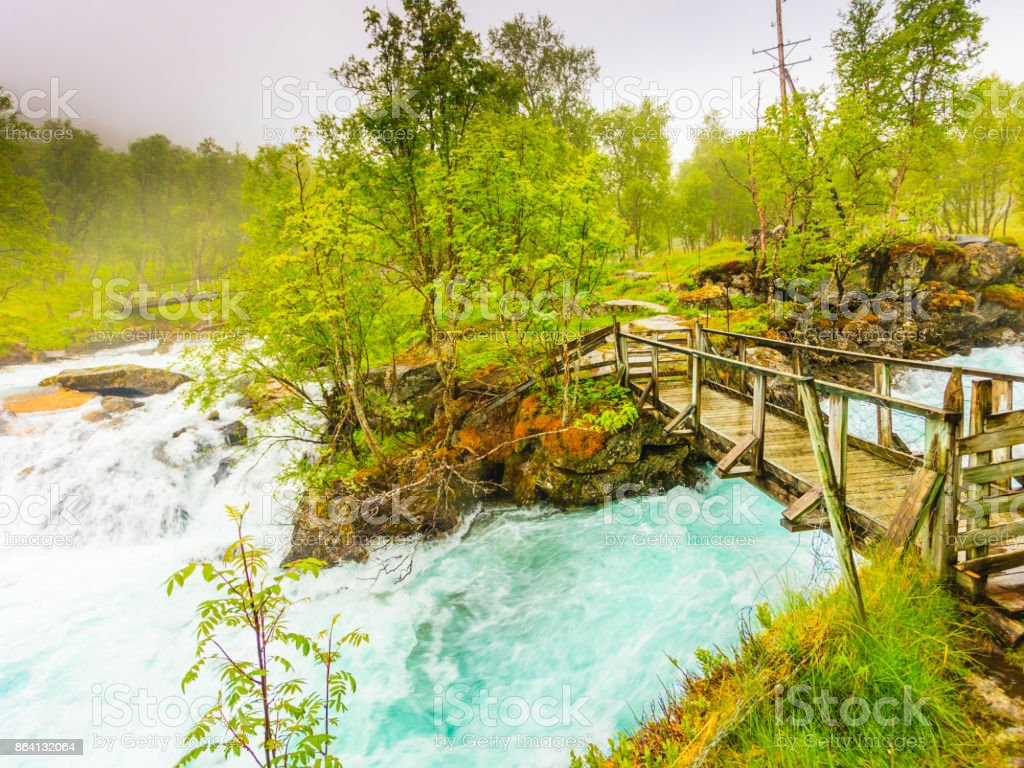 Waterfall along the Aurlandsfjellet Norway royalty-free stock photo