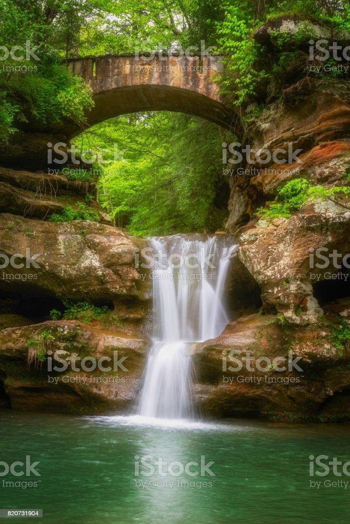 Waterfall and Bridge stock photo