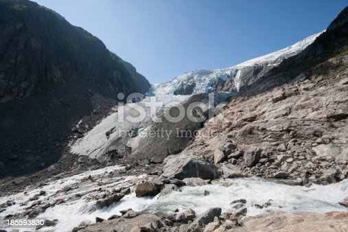 Waterfall and Buarbreen glacier (Folgefonna National Park, Norway)