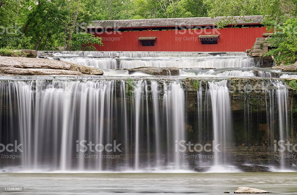 Waterfall and Covered Bridge stock photo