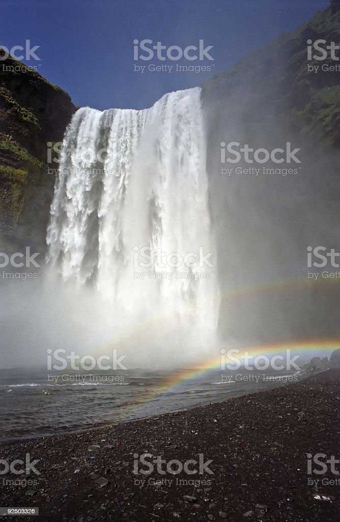 Waterfall and Double Rainbow royalty-free stock photo
