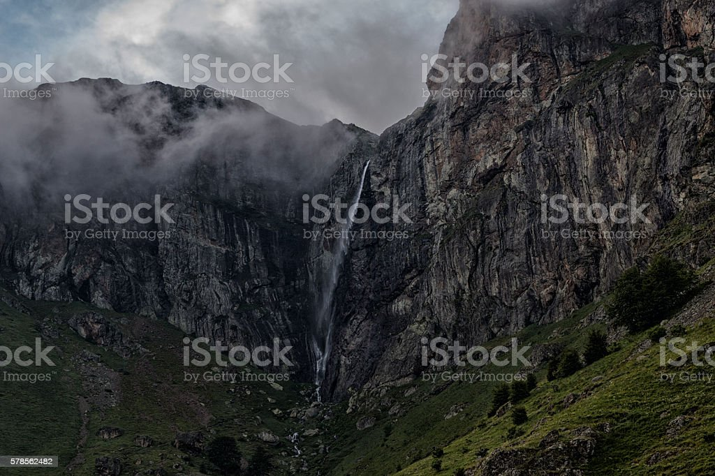Waterfall and fogs stock photo