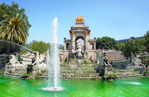 Waterfall and fountain of Parc de la Ciutadella, Barcelona