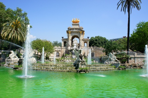 Waterfall and fountain of Parc de la Ciutadella, Barcelona, Spain