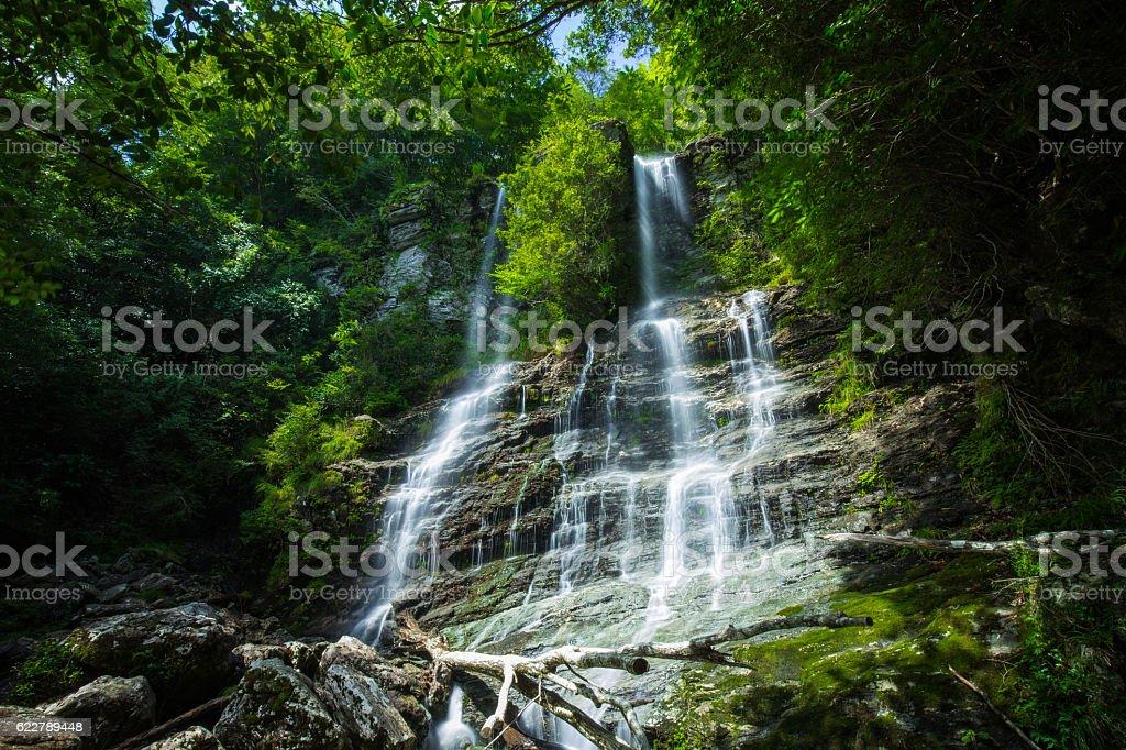 Waterfall and fresh green (Hodono no taki in Japan) stock photo