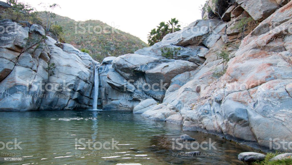 Waterfall And Natural Swimming Pool At Cascada Sol Del Mayo On The Baja  California Peninsula In Mexico Bcs Stock Photo - Download Image Now
