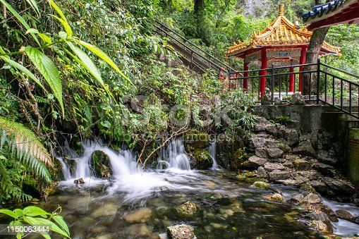 Traditional Taiwanese Garden: Historic Chinese Pagoda with Small Pond and Waterfall in Foreground - Taroko National Park, Taiwan