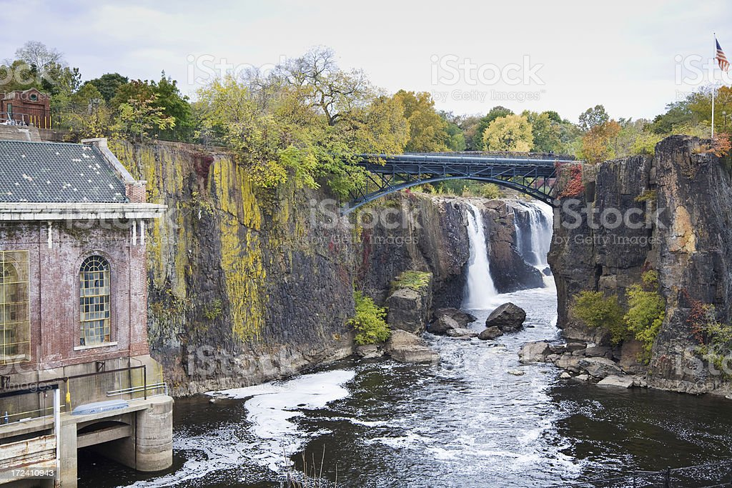 Waterfall and Power Station stock photo