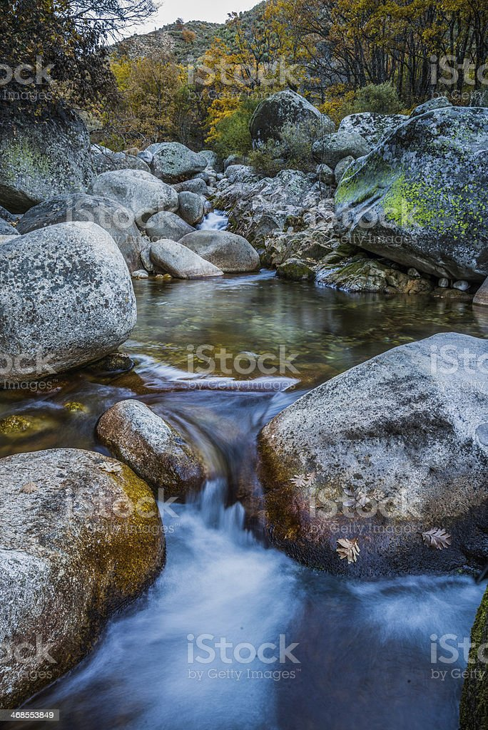 Waterfall and river low speed stock photo
